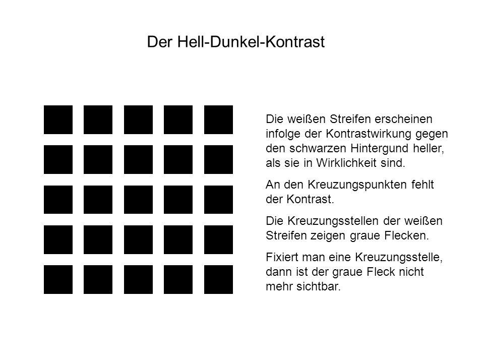 Die weißen Streifen erscheinen infolge der Kontrastwirkung gegen den schwarzen Hintergund heller, als sie in Wirklichkeit sind. An den Kreuzungspunkte