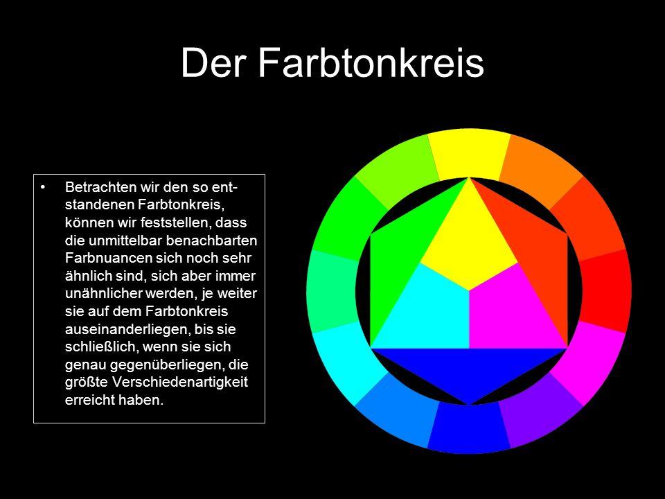 Der Farbtonkreis Betrachten wir den so ent- standenen Farbtonkreis, können wir feststellen, dass die unmittelbar benachbarten Farbnuancen sich noch se