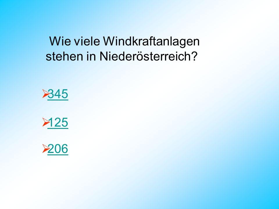 Wie viele Windkraftanlagen stehen in Niederösterreich? 345 125 206