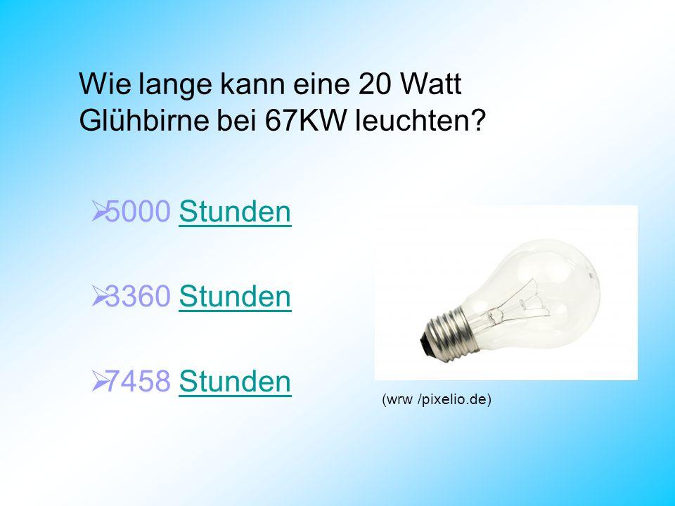 Wie lange kann eine 20 Watt Glühbirne bei 67KW leuchten? 5000 StundenStunden 3360 StundenStunden 7458 StundenStunden (wrw /pixelio.de)