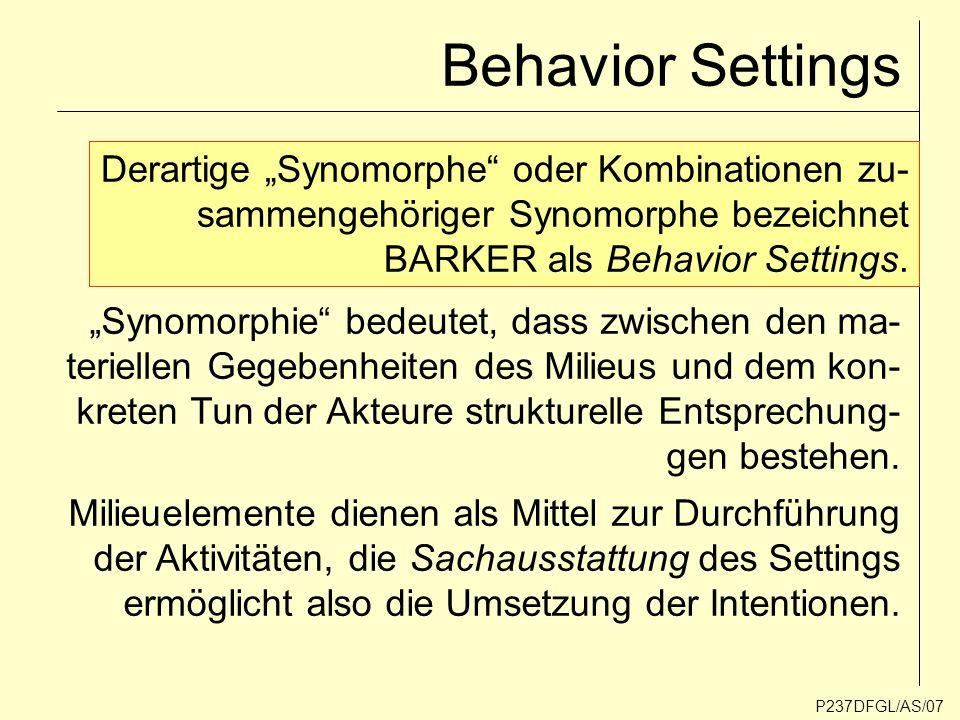 Action Settings AkteureProgramm Transaktionistischer (hybrider) Zusammenhang zwischen materiellen, mentalen und sozialen Phänomenen.