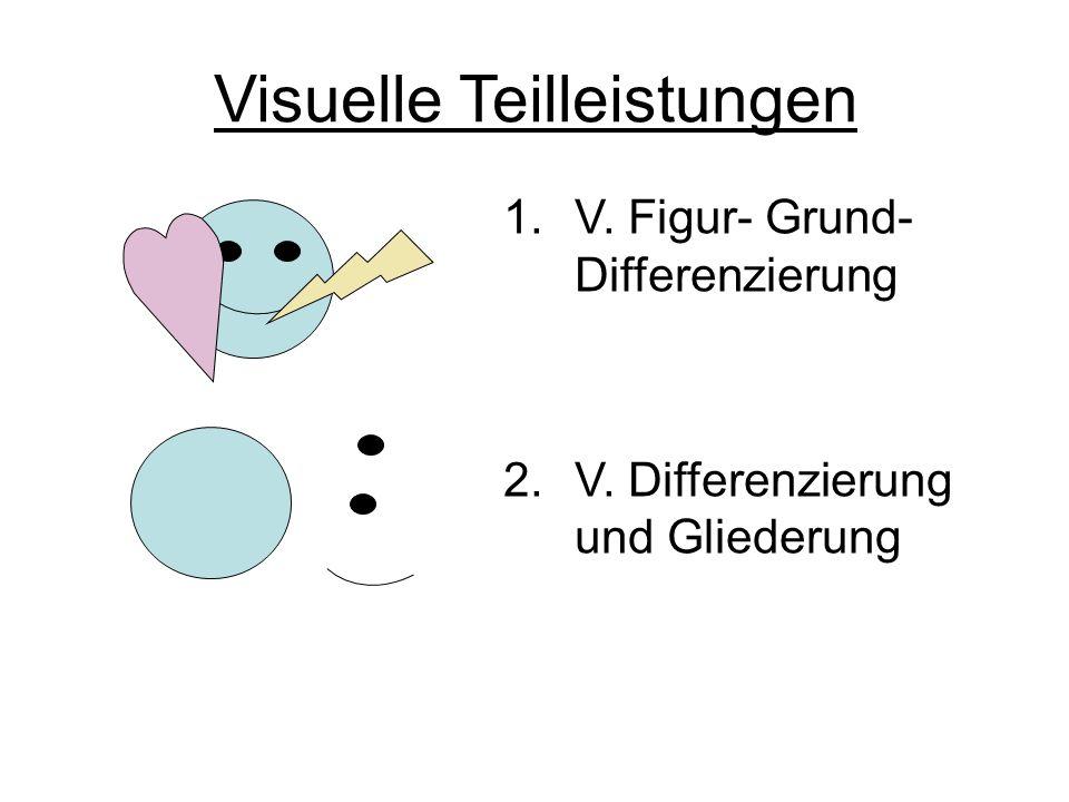 Visuelle Teilleistungen 1.V. Figur- Grund- Differenzierung 2.V. Differenzierung und Gliederung