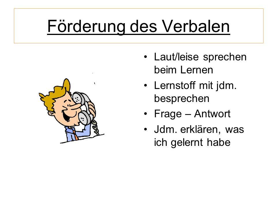 Förderung des Verbalen Laut/leise sprechen beim Lernen Lernstoff mit jdm. besprechen Frage – Antwort Jdm. erklären, was ich gelernt habe