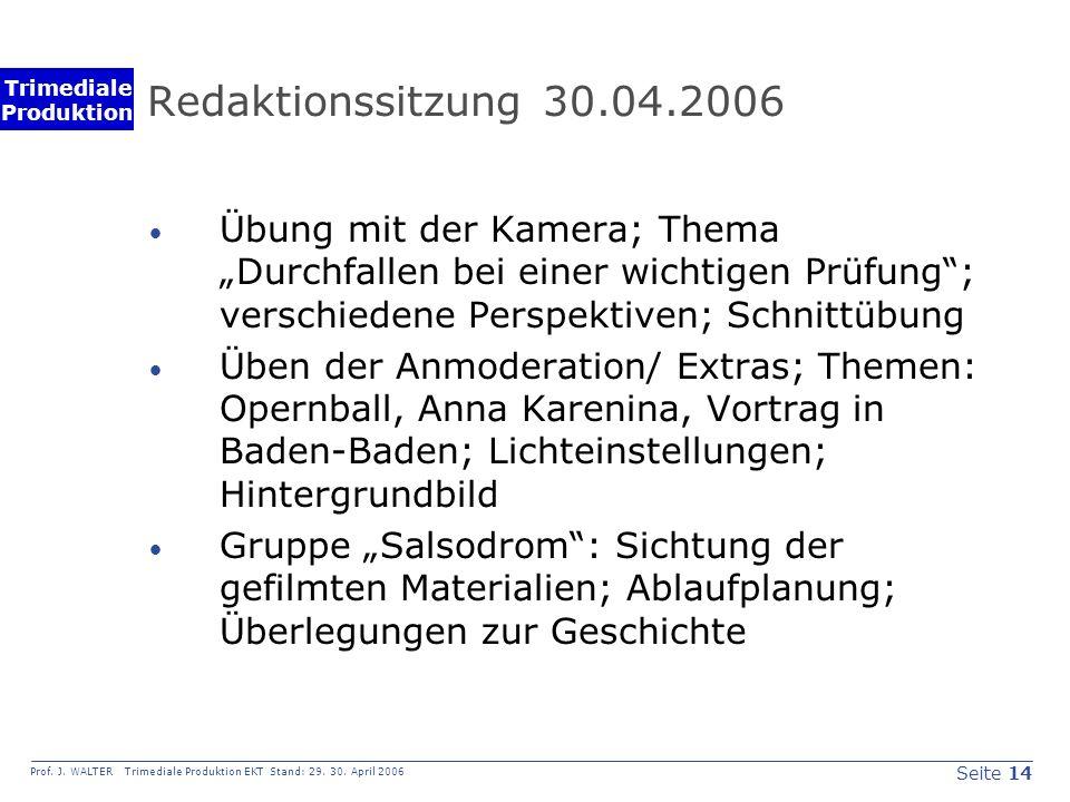 Seite 14 Prof. J. WALTER Trimediale Produktion EKT Stand: 29.