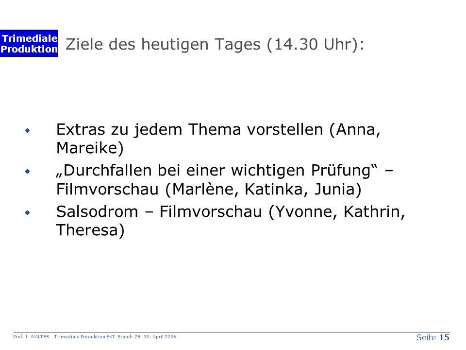 Seite 15 Prof. J. WALTER Trimediale Produktion EKT Stand: 29.