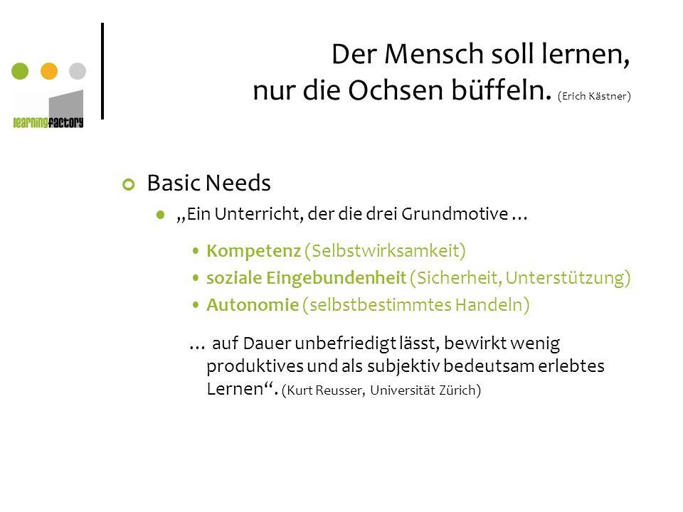 Der Mensch soll lernen, nur die Ochsen büffeln. (Erich Kästner) Basic Needs Ein Unterricht, der die drei Grundmotive … Kompetenz (Selbstwirksamkeit) s