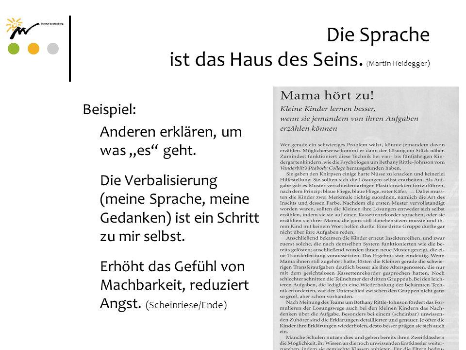 Die Sprache ist das Haus des Seins. ( Martin Heidegger) Beispiel: Anderen erklären, um was es geht. Die Verbalisierung (meine Sprache, meine Gedanken)