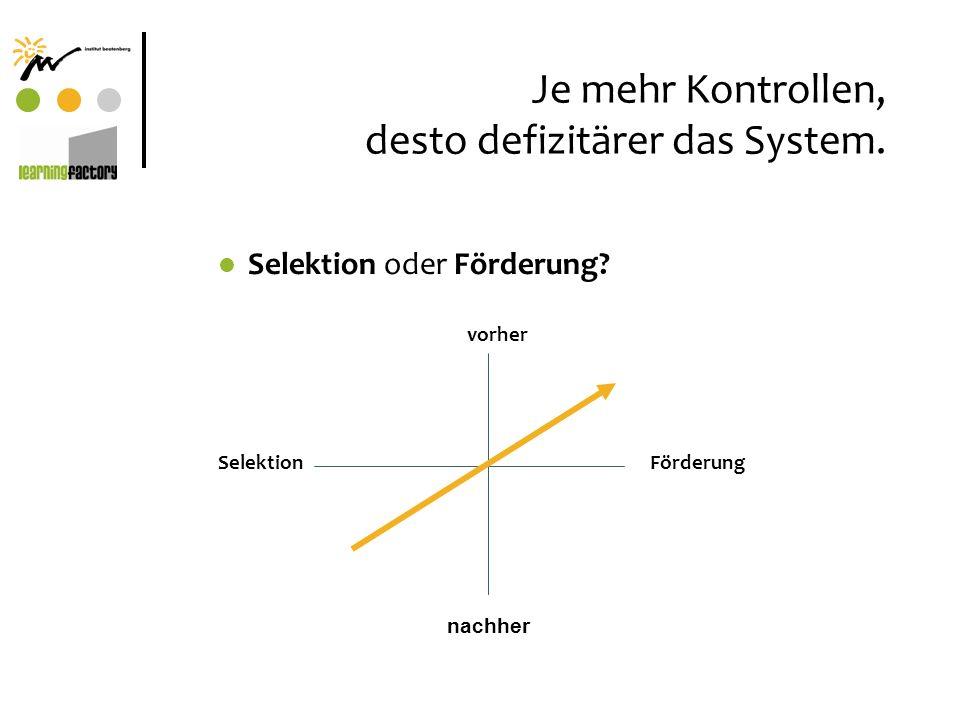 Je mehr Kontrollen, desto defizitärer das System. Selektion oder Förderung? vorher SelektionFörderung nachher