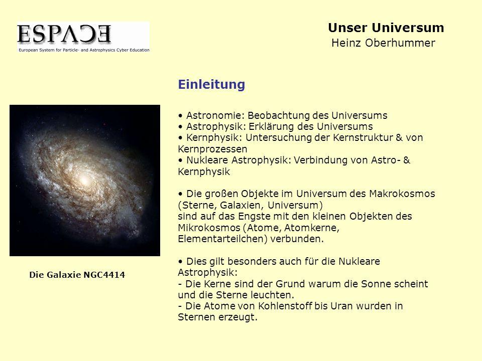 Astronomie: Beobachtung des Universums Astrophysik: Erklärung des Universums Kernphysik: Untersuchung der Kernstruktur & von Kernprozessen Nukleare As