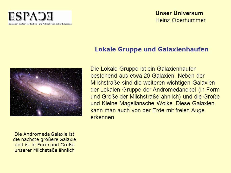 Die Lokale Gruppe ist ein Galaxienhaufen bestehend aus etwa 20 Galaxien. Neben der Milchstraße sind die weiteren wichtigen Galaxien der Lokalen Gruppe