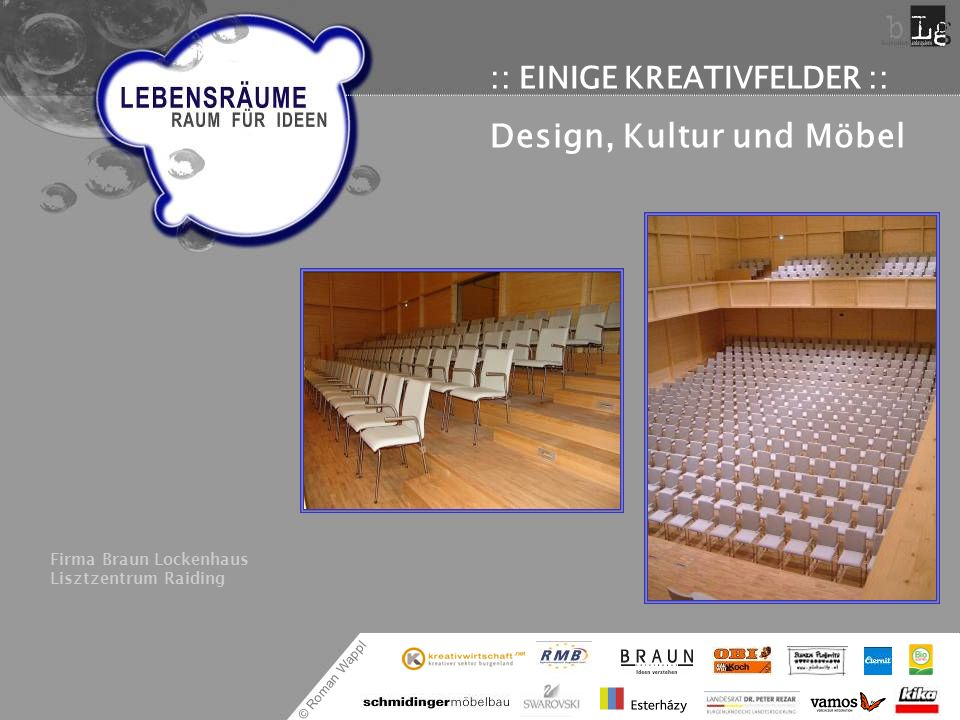 © Roman Wappl :: EINIGE KREATIVFELDER :: Design, Kultur und Möbel Firma Braun Lockenhaus Lisztzentrum Raiding