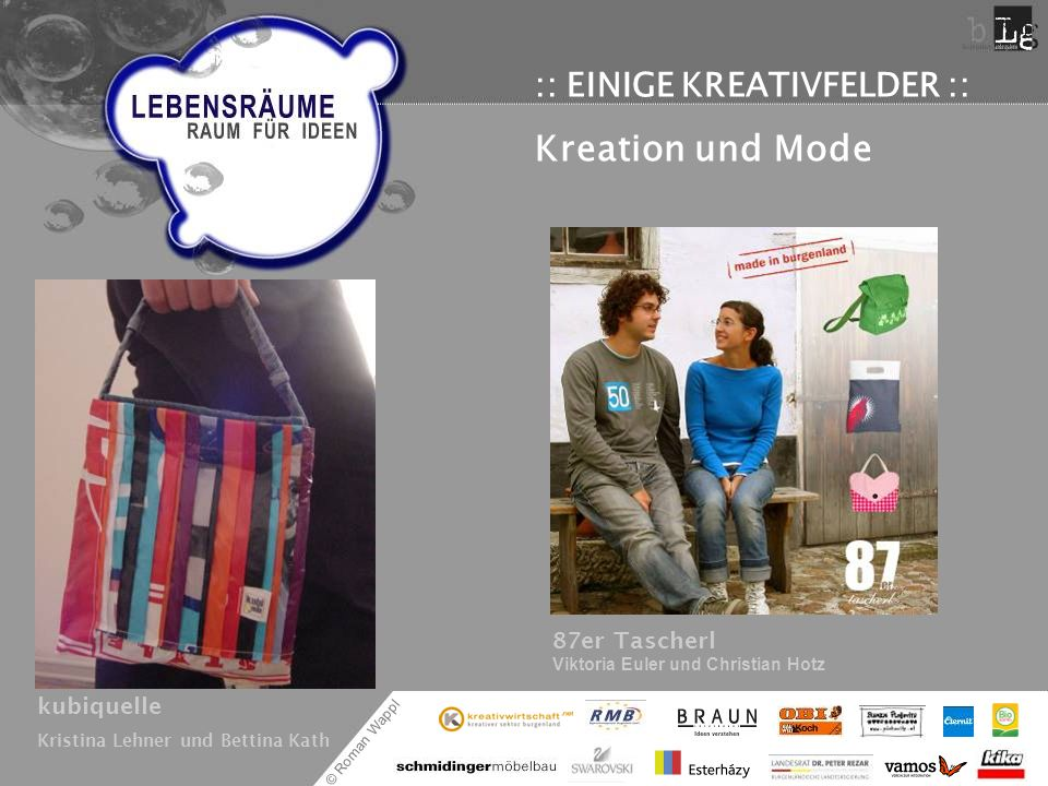 © Roman Wappl :: EINIGE KREATIVFELDER :: Kreation und Mode kubiquelle Kristina Lehner und Bettina Kath 87er Tascherl Viktoria Euler und Christian Hotz
