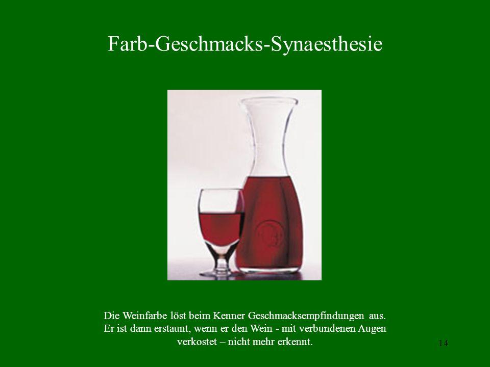 13 Nichtspezifische Sinnesempfindungen (1) Assoziationen: Geruch eines Weihnachtsgebäcks löst Melodie eines Weihnachtsliedes aus. (2) Synästhesie: z.B
