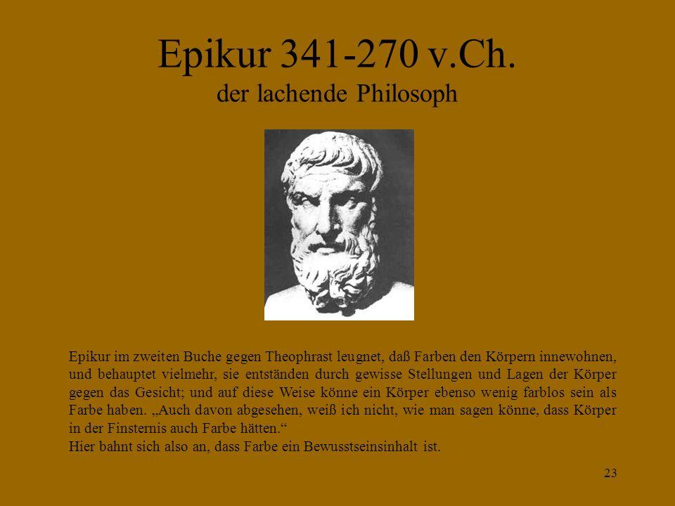 22 DEMOKRIT nach Diogenes Laertius frühes 3. Jh. v. Ch. (nicht der Diogenes im Fass) Diogenes Laertius schrieb eine bedeutende Geschichte der Philosop