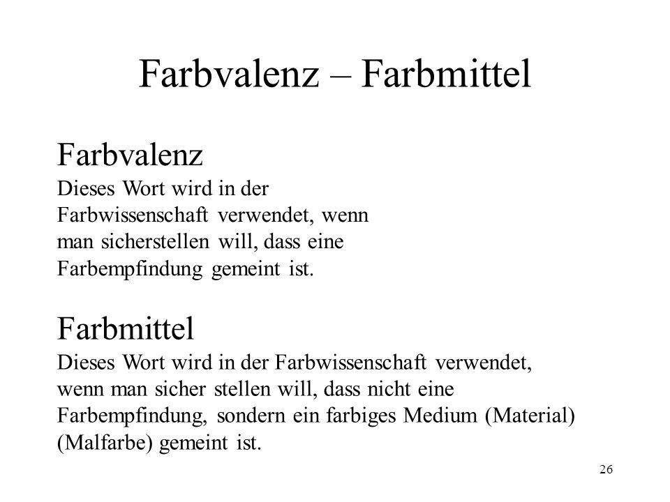 25 Johann Wolfgang von Goethe (1749-1832) Goethe meinte eigentlich die Farb- empfindung (mit Netzhautzuständen verbunden), vermischte aber seinen Farb