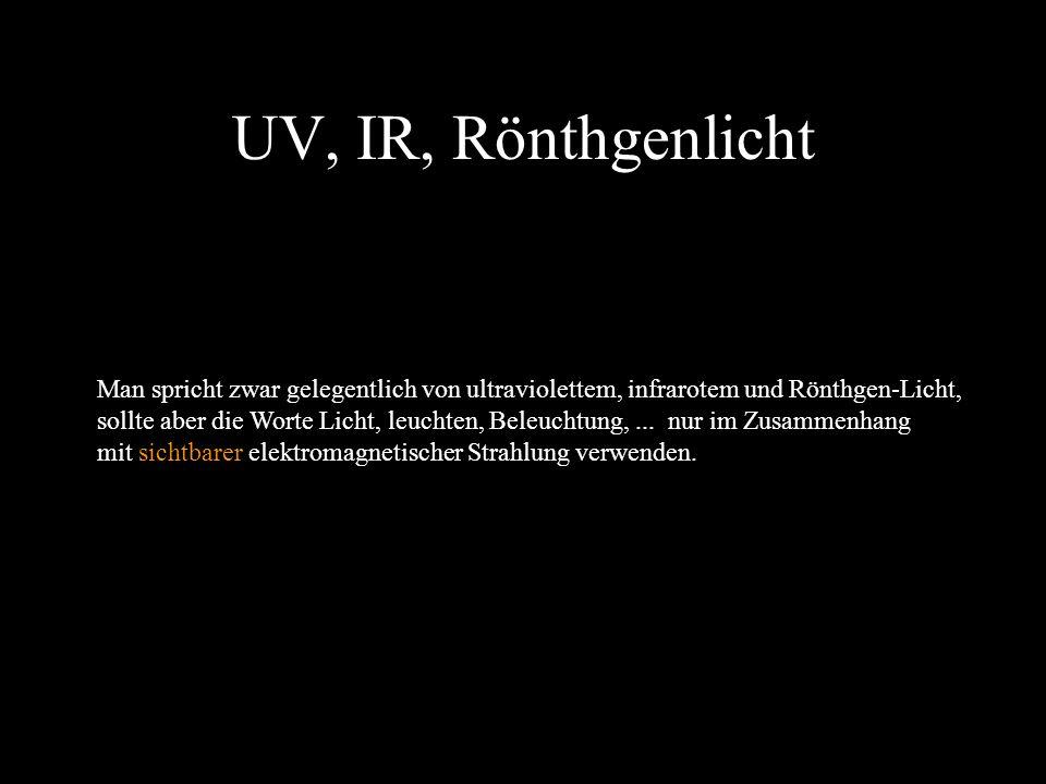 48 Farbiges Licht Als elektromagnetische Strahlung hat Licht objektiv keine Farbe. Während ich ein rotes Kleid sehe (weil Licht eines bestimmten Welle