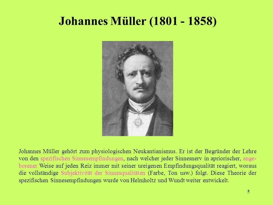 5 Johannes Müller (1801 - 1858) Johannes Müller gehört zum physiologischen Neukantianismus.