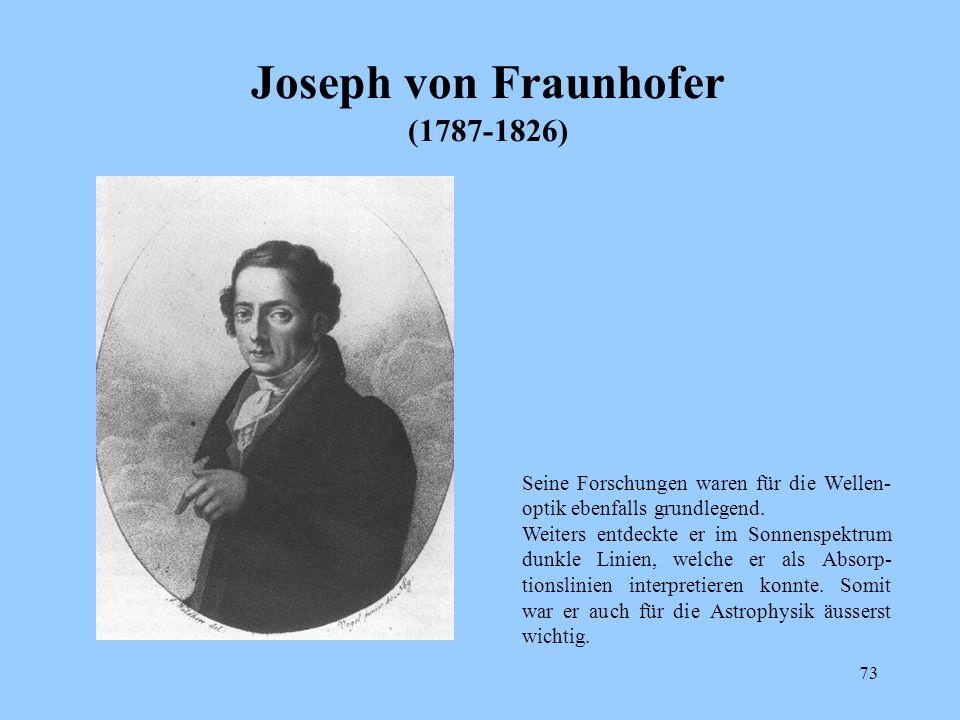 72 Augustin Fresnel (1788 - 1827) Er brachte die Huygensche Wellenlehre des Lichtes zur Vollendung. Damit war Newtons Teilchentheorie vorerst obsolet.