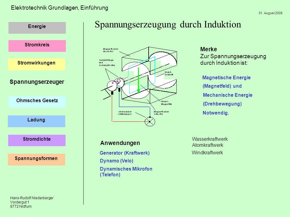 Hans-Rudolf Niederberger Vordergut 1 8772 Nidfurn 31. August 2008 Energie Stromkreis Ohmsches Gesetz Ladung Elektrotechnik Grundlagen, Einführung Stro