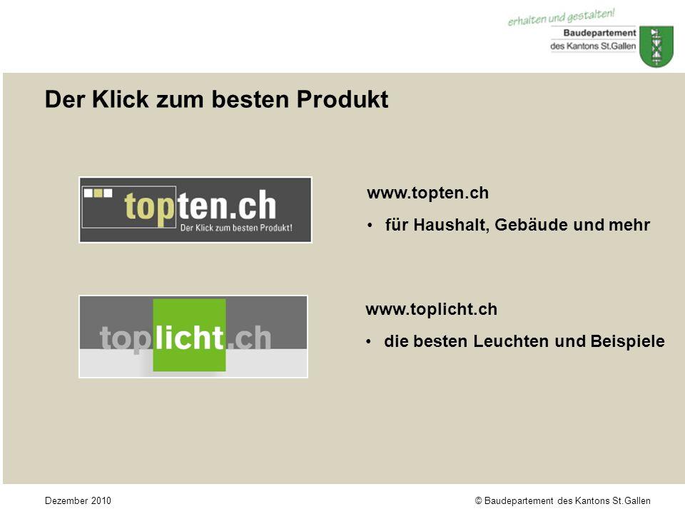 © Baudepartement des Kantons St.GallenDezember 2010 Der Klick zum besten Produkt www.topten.ch für Haushalt, Gebäude und mehr www.toplicht.ch die best