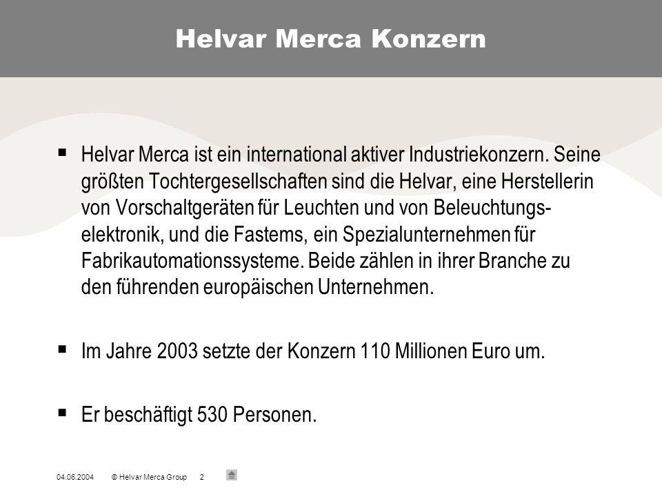 04.06.2004© Helvar Merca Group2 Helvar Merca Konzern Helvar Merca ist ein international aktiver Industriekonzern. Seine größten Tochtergesellschaften