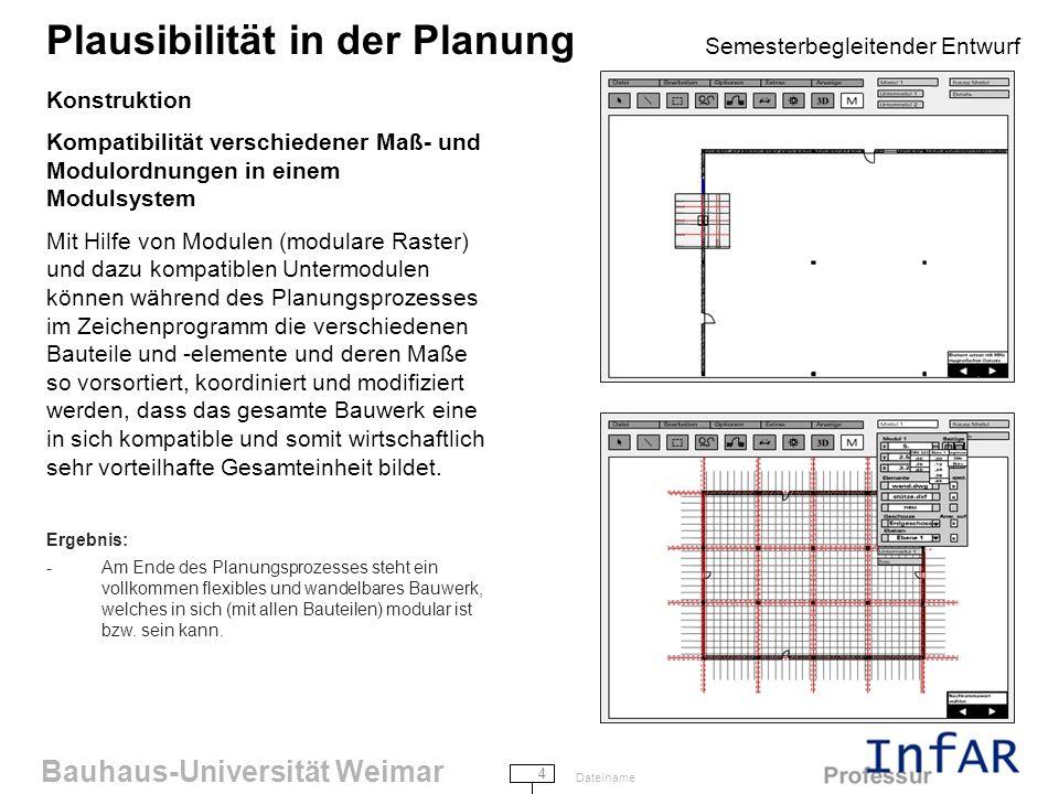 Bauhaus-Universität Weimar 4 Dateiname Plausibilität in der Planung Semesterbegleitender Entwurf Konstruktion Kompatibilität verschiedener Maß- und Modulordnungen in einem Modulsystem Mit Hilfe von Modulen (modulare Raster) und dazu kompatiblen Untermodulen können während des Planungsprozesses im Zeichenprogramm die verschiedenen Bauteile und -elemente und deren Maße so vorsortiert, koordiniert und modifiziert werden, dass das gesamte Bauwerk eine in sich kompatible und somit wirtschaftlich sehr vorteilhafte Gesamteinheit bildet.