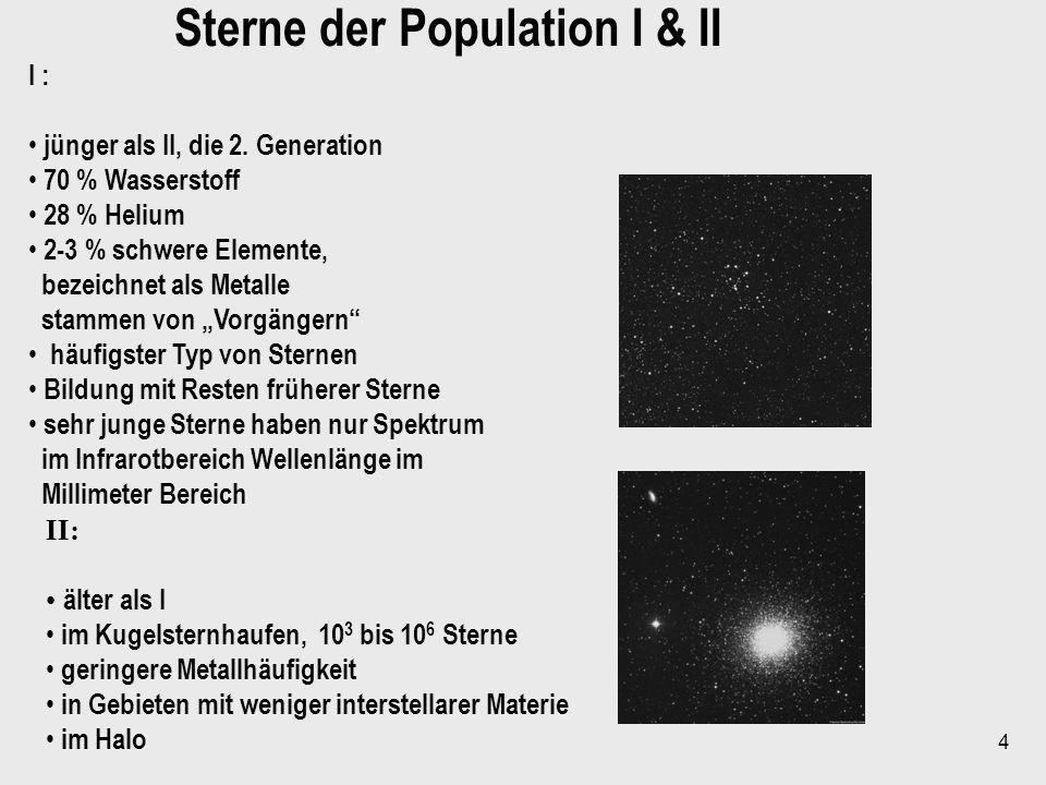 4 Sterne der Population I & II I : jünger als II, die 2. Generation 70 % Wasserstoff 28 % Helium 2-3 % schwere Elemente, bezeichnet als Metalle stamme