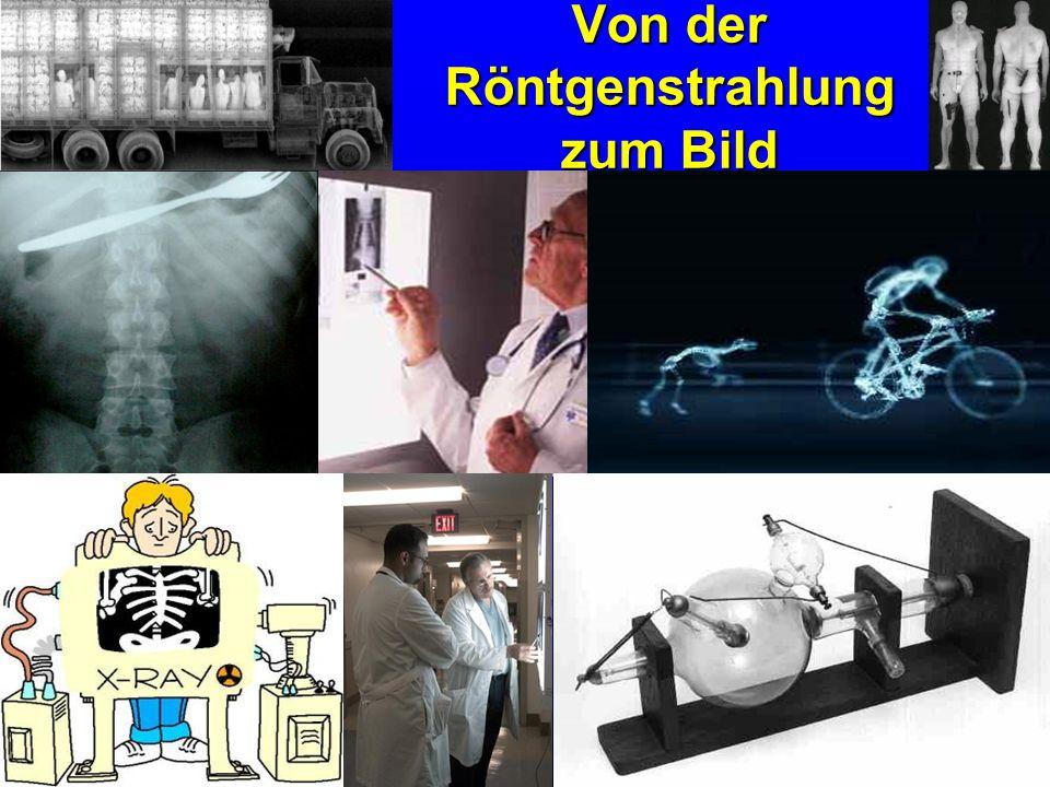Entstehung der Röntgenstrahlung Elektronenquelle ist eine Kathoden- Spirale aus Wolfram, die durch elektrischen Strom erhitzt wird, Elektronen werden freigesetzt Die anfallenden Elektronen werden durch eine Spannung zwischen Anode und Kathode (zwischen 30-400 kV) sehr schnell beschleunigt 40 kV = weiche Strahlung 100 kV = harte Strahlung für Routineeinsatz in der Röntgendiagnostik bis zu 2 Mio Volt = ultraharte Strahlung zur Krebsbehandlung