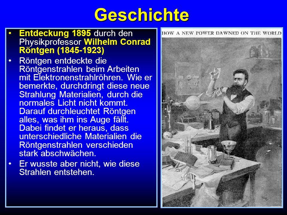 Geschichte 28.12.1895 Vortrag Über eine neue Art von Strahlen vor der Physikalisch- Medizinischen Gesellschaft in Würzburg Zitat Wir werden ja sehen, was wir sehen