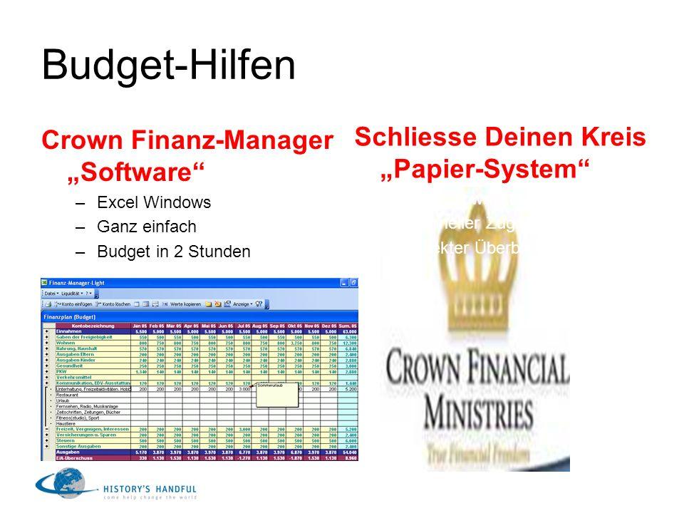 Budget-Hilfen Crown Finanz-Manager Software –Excel Windows –Ganz einfach –Budget in 2 Stunden Schliesse Deinen Kreis Papier-System –Aus Crown-Kurs –Sc