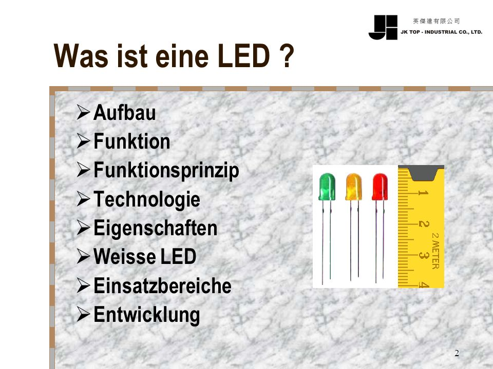 2 Was ist eine LED ? Aufbau Funktion Funktionsprinzip Technologie Eigenschaften Weisse LED Einsatzbereiche Entwicklung