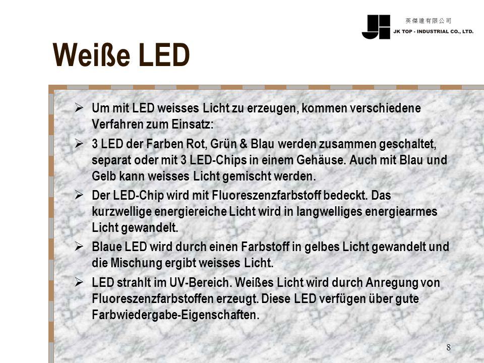 8 Weiße LED Um mit LED weisses Licht zu erzeugen, kommen verschiedene Verfahren zum Einsatz: 3 LED der Farben Rot, Grün & Blau werden zusammen geschal
