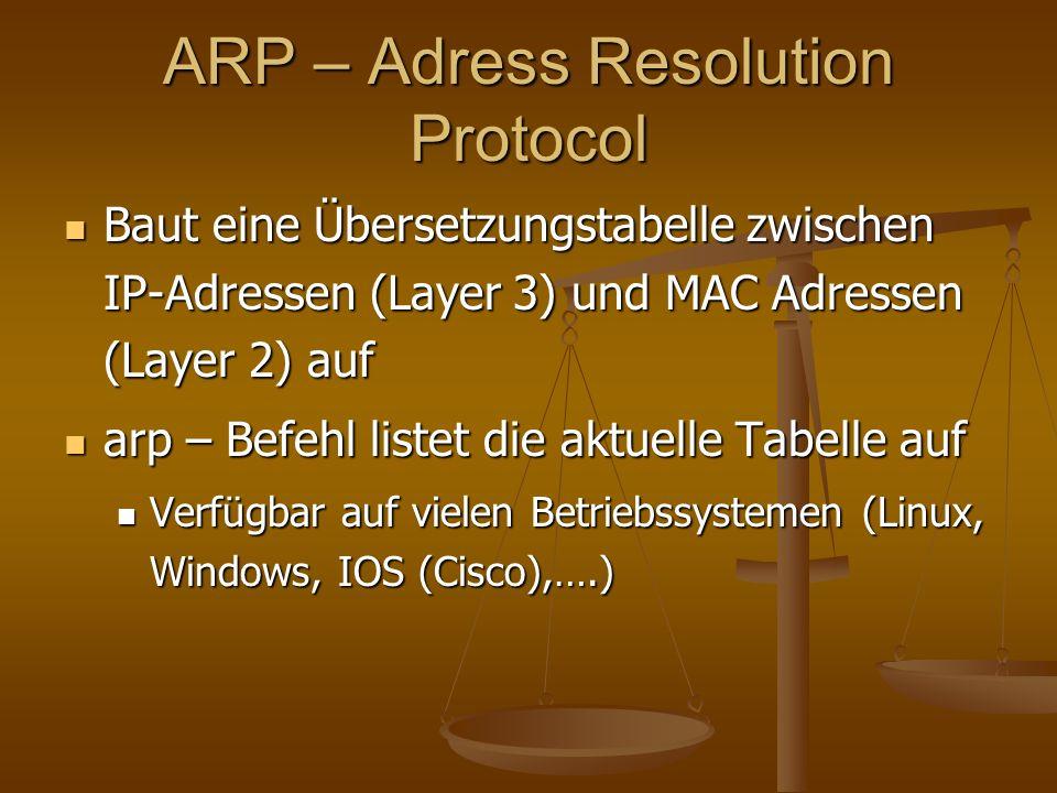ARP – Adress Resolution Protocol Baut eine Übersetzungstabelle zwischen IP-Adressen (Layer 3) und MAC Adressen (Layer 2) auf Baut eine Übersetzungstab