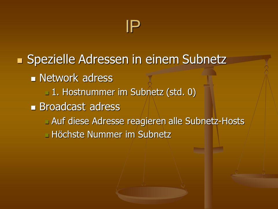 IP Spezielle Adressen in einem Subnetz Spezielle Adressen in einem Subnetz Network adress Network adress 1. Hostnummer im Subnetz (std. 0) 1. Hostnumm