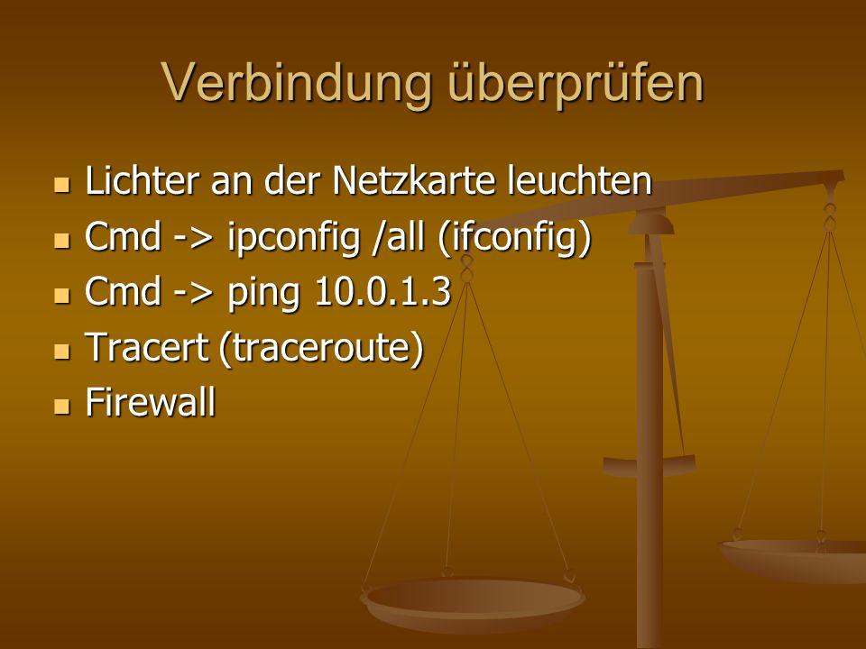Verbindung überprüfen Lichter an der Netzkarte leuchten Lichter an der Netzkarte leuchten Cmd -> ipconfig /all (ifconfig) Cmd -> ipconfig /all (ifconf