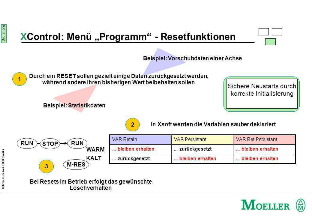 Schutzvermerk nach DIN 34 beachten XControl: Menü Programm - Resetfunktionen Durch ein RESET sollen gezielt einige Daten zurückgesetzt werden, während andere ihren bisherigen Wert beibehalten sollen Beispiel: Vorschubdaten einer Achse Beispiel: Statistikdaten...