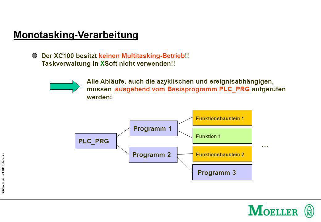 Schutzvermerk nach DIN 34 beachten Monotasking-Verarbeitung Der XC100 besitzt keinen Multitasking-Betrieb!.