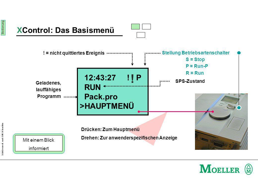 Schutzvermerk nach DIN 34 beachten Stellung Betriebsartenschalter S = Stop P = Run-P R = Run 12:43:27 .