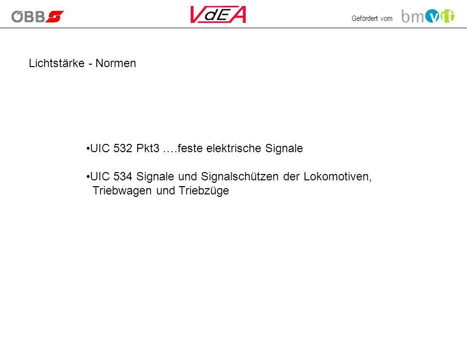 Gefördert vom Lichtstärke - Normen UIC 532 Pkt3 ….feste elektrische Signale UIC 534 Signale und Signalschützen der Lokomotiven, Triebwagen und Triebzü