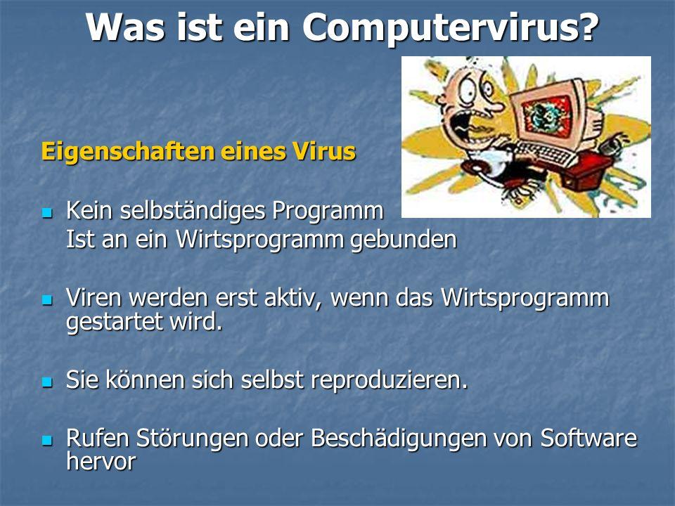 Was ist ein Computervirus? Eigenschaften eines Virus Kein selbständiges Programm Kein selbständiges Programm Ist an ein Wirtsprogramm gebunden Viren w