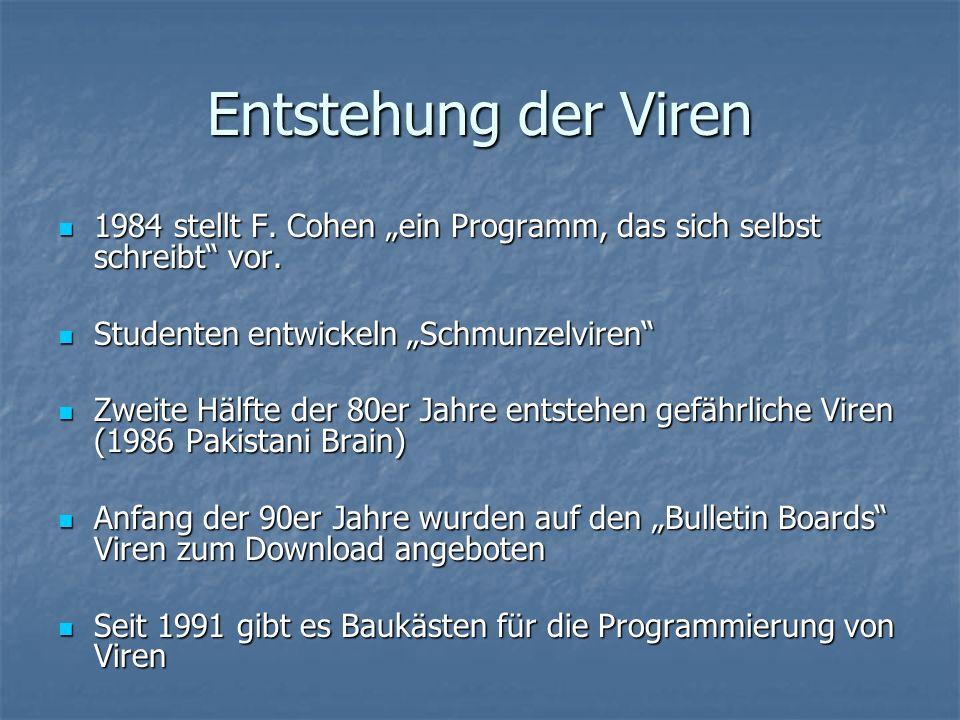 Entstehung der Viren 1984 stellt F. Cohen ein Programm, das sich selbst schreibt vor. 1984 stellt F. Cohen ein Programm, das sich selbst schreibt vor.