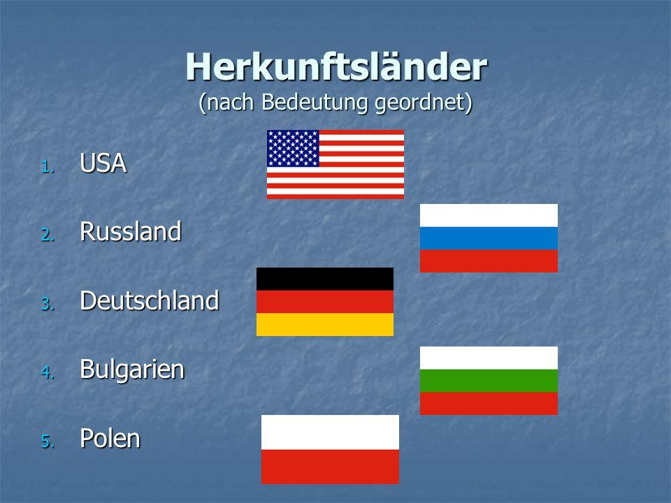 Herkunftsländer (nach Bedeutung geordnet) 1. USA 2. Russland 3. Deutschland 4. Bulgarien 5. Polen