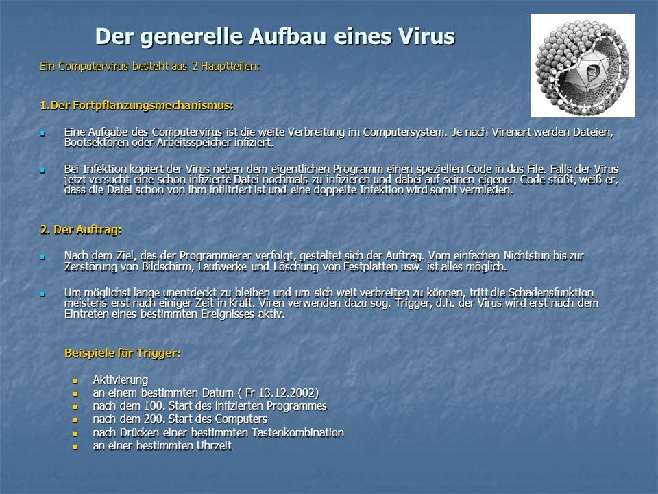 Der generelle Aufbau eines Virus Ein Computervirus besteht aus 2 Hauptteilen: 1.Der Fortpflanzungsmechanismus: Eine Aufgabe des Computervirus ist die