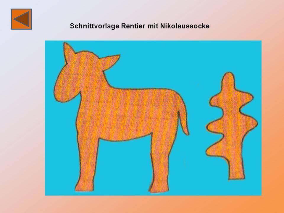 Schnittvorlage Rentier mit Nikolaussocke