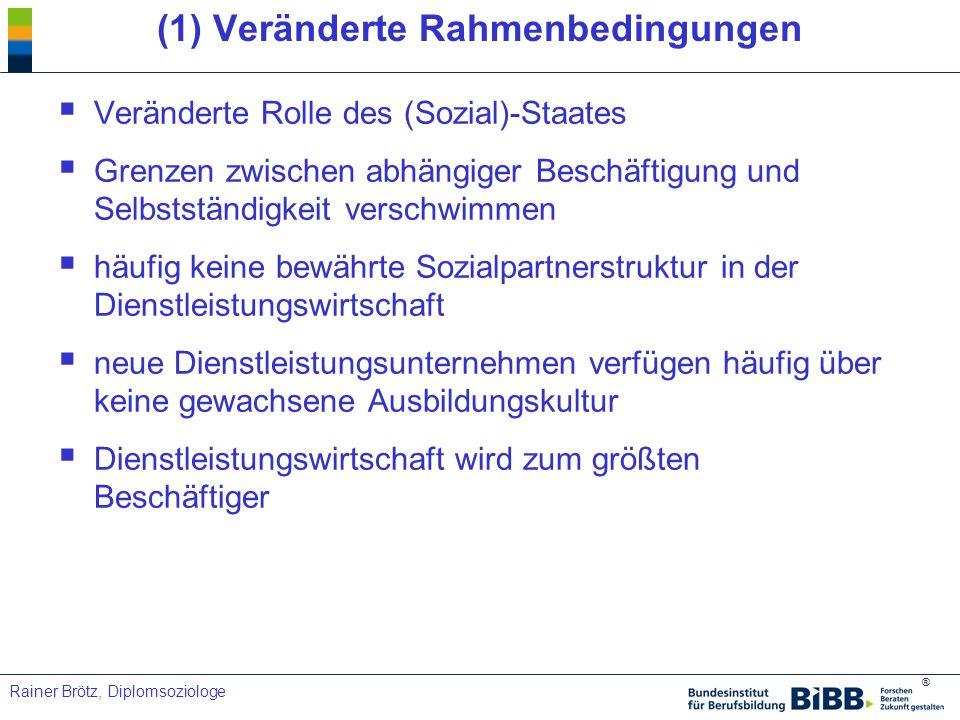 ® Rainer Brötz, Diplomsoziologe (3) IAB - Betriebspanel 3% unbesetzte Stellen für Qualifizierte 14% konnten alle Stellen besetzen 84% kein Bedarf an Fachkräften Betriebe weichen von ihren Vorstellungen ab und erhöhen den Einarbeitungs- und Weiterbildungsaufwand (13%) Kein genereller Fachkräftemangel in Berlin und NRW sowie in den unternehmensnahen DL in Ostdeutschland, Kredit und Versicherungen, gab es Probleme bei der Deckung des Fachkräftebedarfes
