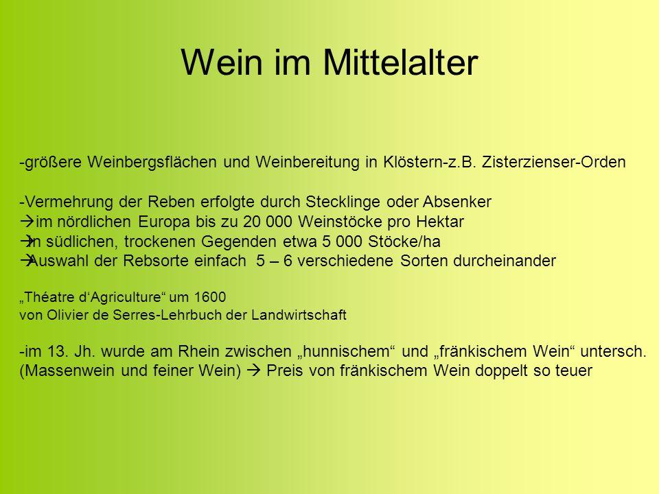 Wein im Mittelalter -größere Weinbergsflächen und Weinbereitung in Klöstern-z.B. Zisterzienser-Orden -Vermehrung der Reben erfolgte durch Stecklinge o