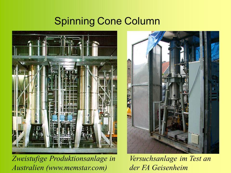 Spinning Cone Column Versuchsanlage im Test an der FA Geisenheim Zweistufige Produktionsanlage in Australien (www.memstar.com)