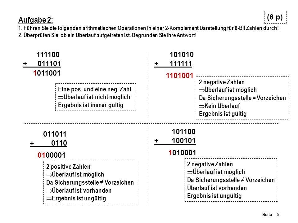 Seite 5 Aufgabe 2: 1. Führen Sie die folgenden arithmetischen Operationen in einer 2-Komplement Darstellung für 6-Bit Zahlen durch! 2. Überprüfen Sie,