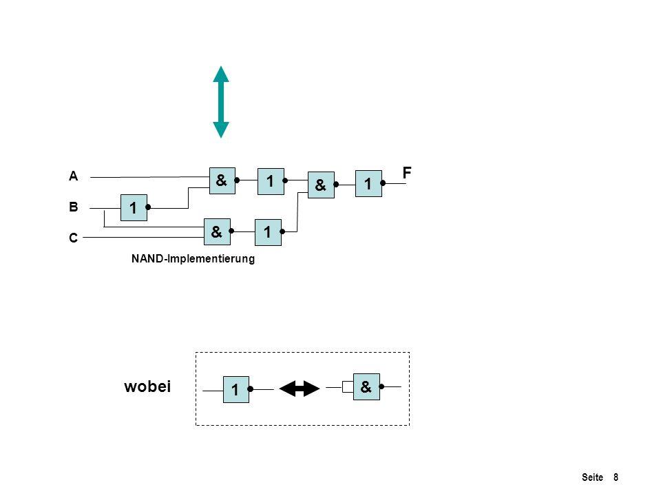 Seite 8 ABCABC & & & 1 1 1 1 1 & NAND-Implementierung F wobei