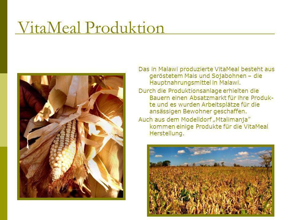 Das in Malawi produzierte VitaMeal besteht aus geröstetem Mais und Sojabohnen – die Hauptnahrungsmittel in Malawi. Durch die Produktionsanlage erhielt